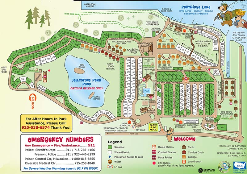 Map of Fremont Jellystone Park Camp-Resort